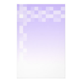 Lilac Purple and White Squares Pattern Custom Stationery