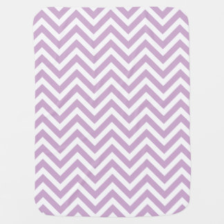 Lilac Purple and White Zigzag Chevron Stripes Stroller Blanket