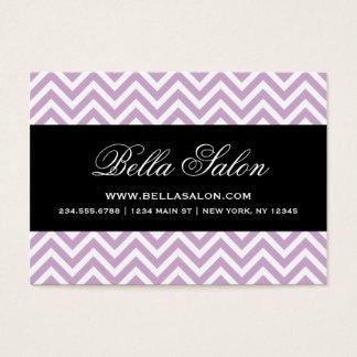 Lilac Purple & Black Modern Chevron Stripes Business Card