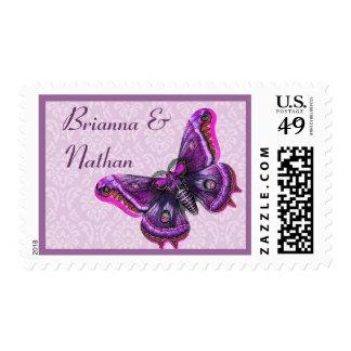 Lilac & Purple Butterfly & Damask Wedding Stamp