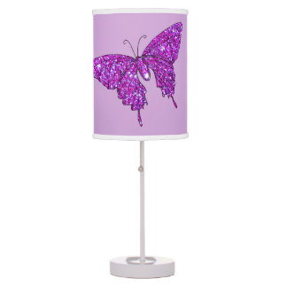 Lilac Purple Butterfly Sparkly Glitter Fun Girly Table Lamp