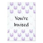 """Lilac Purple cat pattern. 5"""" X 7"""" Invitation Card"""