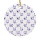 Lilac Purple cat pattern. Christmas Ornaments