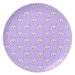 Lilac Purple cat pattern. Dinner Plates