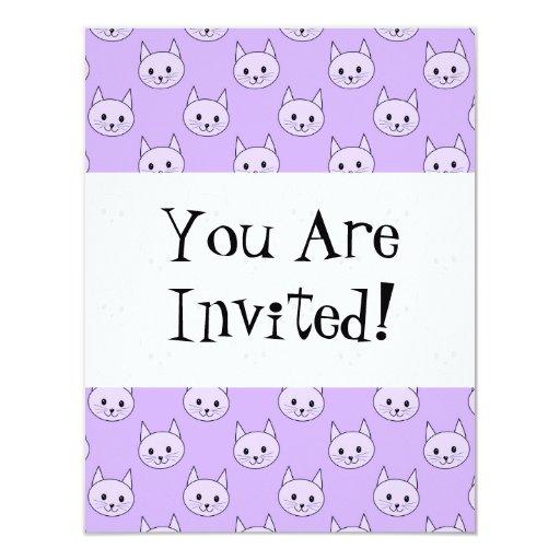 Lilac Purple cat pattern. 4.25x5.5 Paper Invitation Card