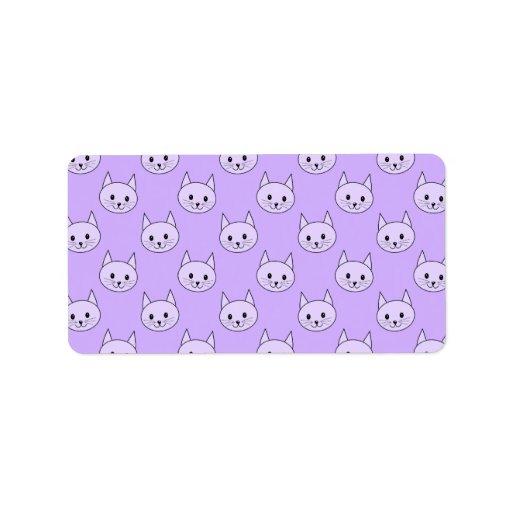 Lilac Purple cat pattern. Label