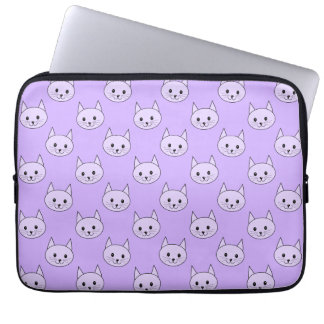 Lilac Purple cat pattern. Laptop Sleeve