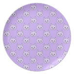 Lilac Purple cat pattern. Melamine Plate