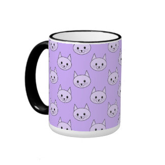 Lilac Purple cat pattern. Ringer Coffee Mug