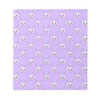 Lilac Purple cat pattern. Note Pads