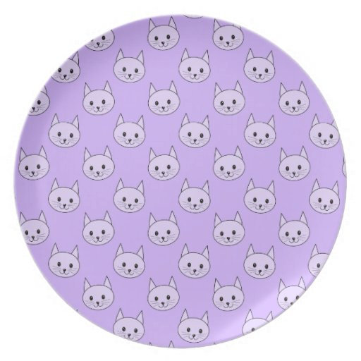 Lilac Purple cat pattern. Party Plate
