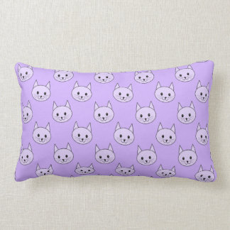 Lilac Purple cat pattern. Throw Pillows