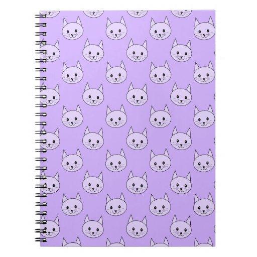 Lilac Purple cat pattern. Spiral Notebooks
