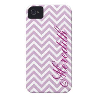 Lilac Purple Chevron Stripes Custom Monogram iPhone 4 Cover