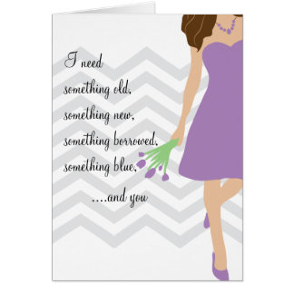 Lilac Purple Chevron Will You Be My Bridesmaid Greeting Card