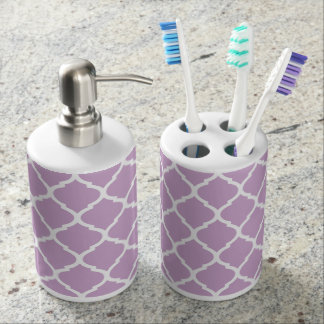 Lilac Purple Chic Moroccan Quatrefoil Bath Accessory Sets