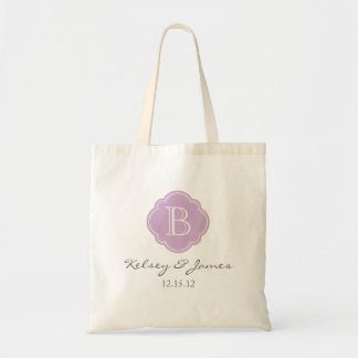 Lilac Purple Custom Monogram Wedding Favor Tote Canvas Bags