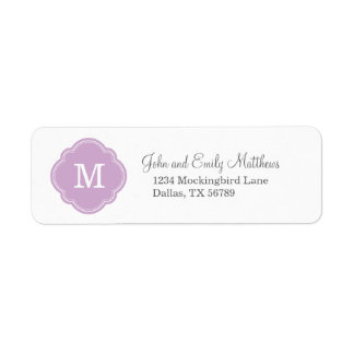 Lilac Purple Custom Personalized Monogram Label