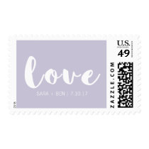 Lilac Purple Custom Wedding Love Postage
