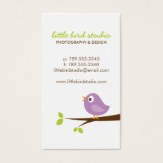 Lilac Purple Cute Bird On A Branch Business Card at Zazzle