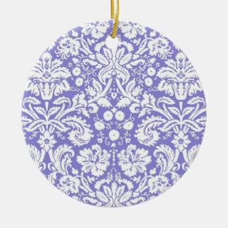 Lilac purple damask pattern ceramic ornament