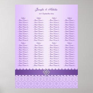 Lilac & Purple Damask Ribbon Wedding Seating Chart
