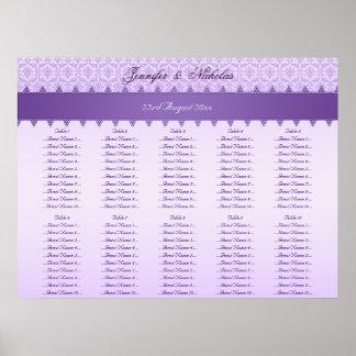 Lilac & Purple Damask Ribbon Wedding Seating Plan Poster