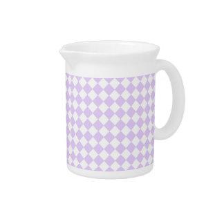 Lilac Purple Diamond Checkered pattern Beverage Pitcher