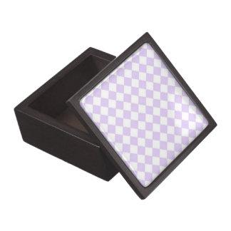 Lilac Purple Diamond Checkered pattern Premium Trinket Box