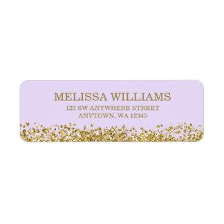 Lilac Purple Faux Gold Glitter Label
