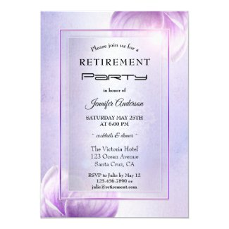 Lilac Purple Floral Retirement Party Invitation