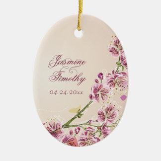 Lilac purple flowers wedding photo favor keepsake ceramic ornament
