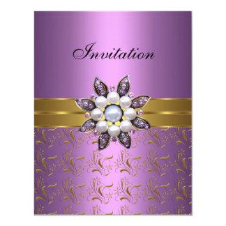 Lilac Purple Gold Invite Jewel Floral Elegant Clas