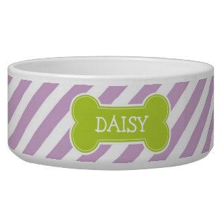 Lilac Purple & Green Modern Diagonal Stripes Dog Bowl