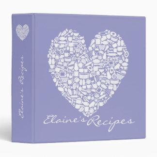 Lilac Purple Heart Recipe Custom Name Binder