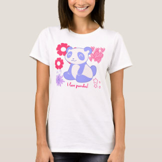 Lilac Purple - I love Pandas T-Shirt