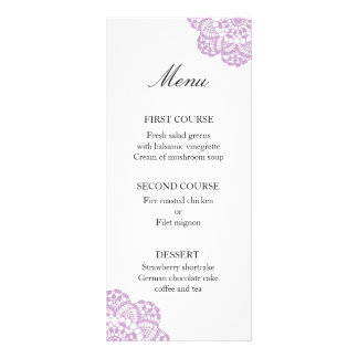 Lilac Purple Lace Doily Menu Card