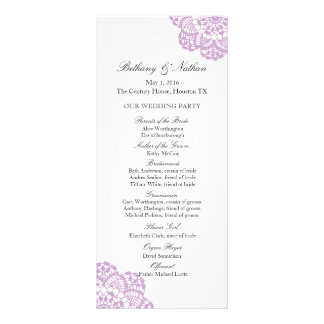 Lilac Purple Lace Doily Wedding Program