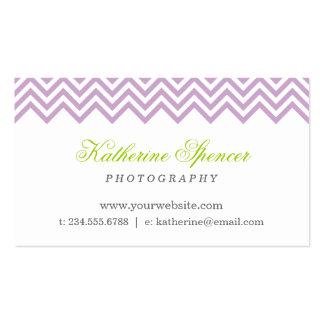 Lilac Purple Modern Chevron and Polka Dots Business Card
