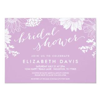 Lilac Purple Modern Floral Bridal Shower 5x7 Paper Invitation Card