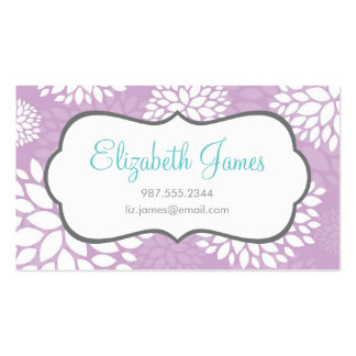 Lilac Purple Modern Flowers Double-Sided Standard Business Cards (Pack Of 100)