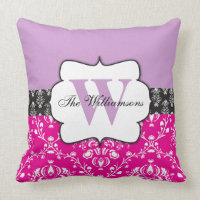 Lilac Purple Monogram with Black and Pink Damask Throw Pillow