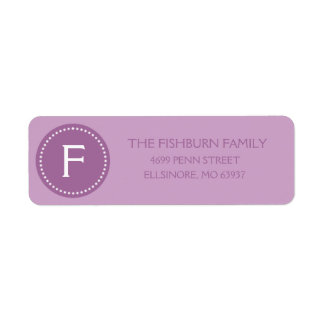 Lilac Purple Muted Monogram Custom Monogrammed Label