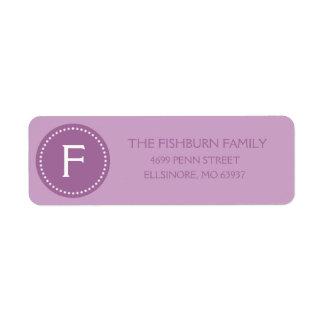 Lilac Purple Muted Monogram Custom Monogrammed Label