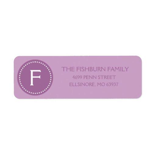 Lilac Purple Muted Monogram Custom Monogrammed Return Address Label