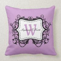 Lilac Purple Ornate Frame Monogram Throw Pillow
