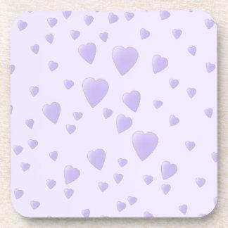 Lilac Purple Pattern of Love Hearts. Beverage Coaster