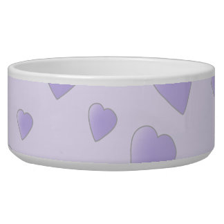 Lilac Purple Pattern of Love Hearts. Dog Water Bowl