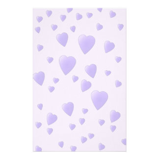 Lilac Purple Pattern of Love Hearts. Stationery