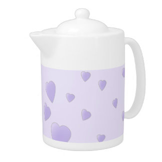 Lilac Purple Pattern of Love Hearts. Teapot
